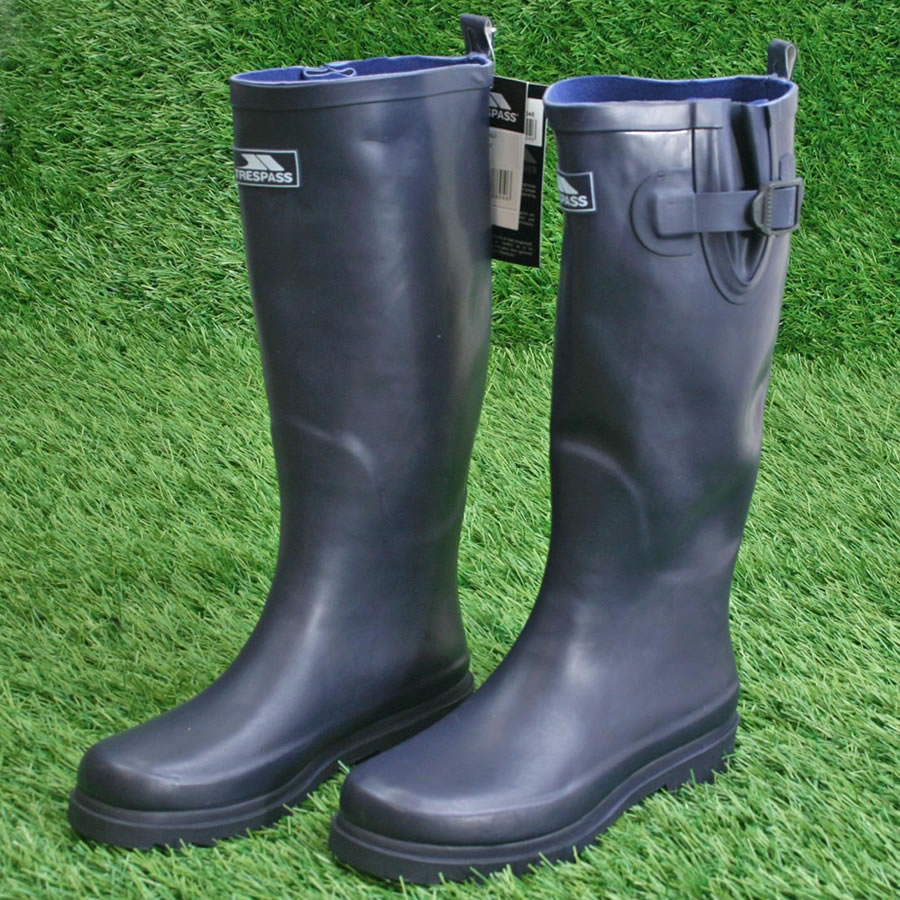 Navy Festival Wellies With Adjustable Calf Ladies Welly