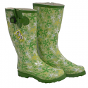 Women's Green Floral Wellies