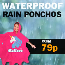 waterproof rain ponchos from 79p